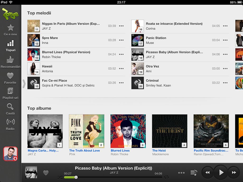 Aplicatia Zonga dedicata iPad